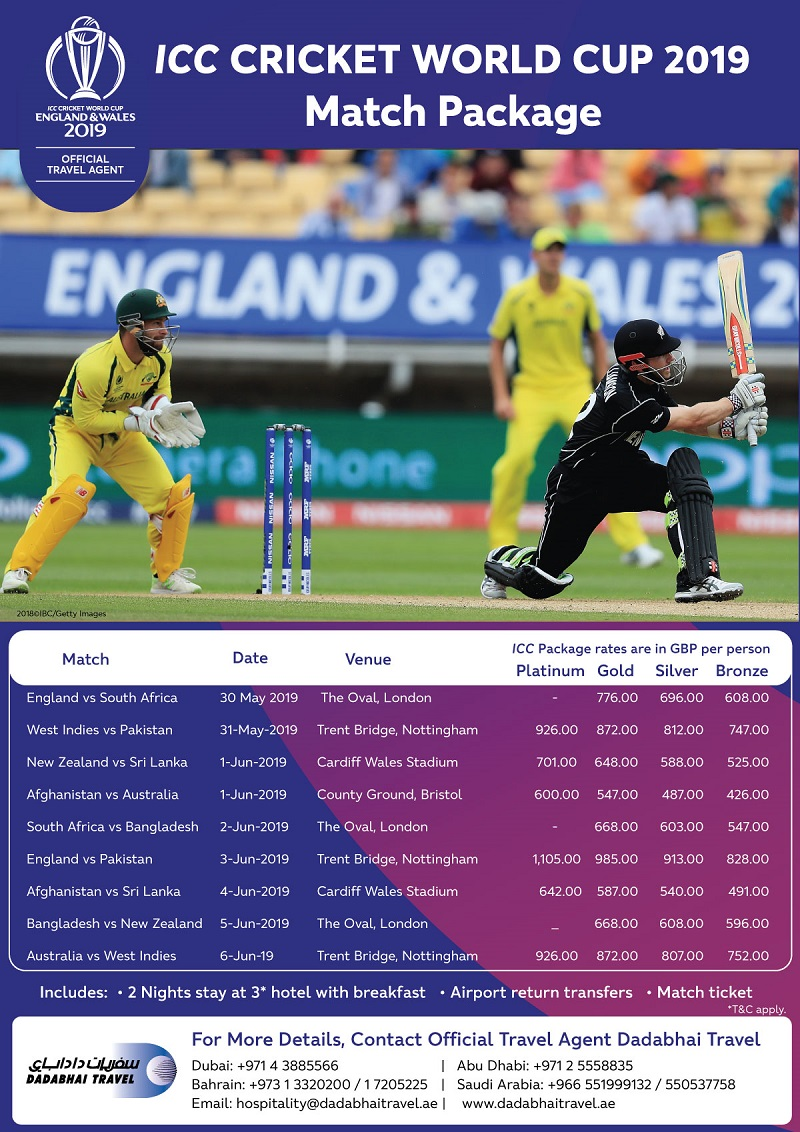 2019 ICC Cricket World Cup Travel Package from Dadabhai Travel