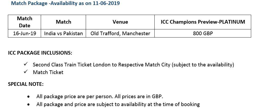 ICC Cricket World Cup 2019 India vs Pakistan Price