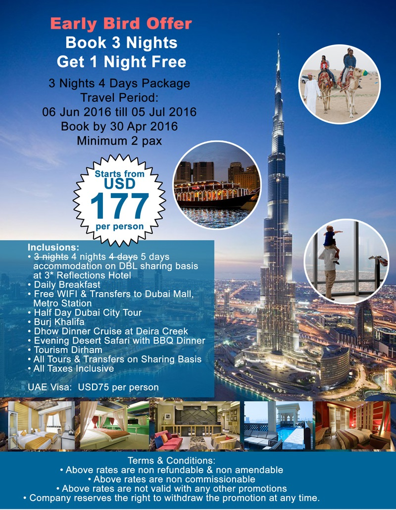 Early Bird Offer 3 Nights 4 Days Dubai Package